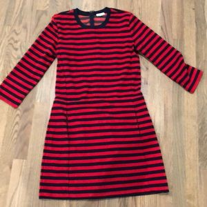 Red and navy striped Gap dress with pockets!